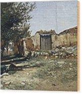 Landscape In Aragon Wood Print