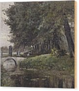 Landscape In Nijmegen. Netherlands Wood Print