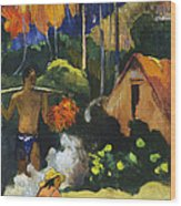 Landscape In Tahiti.mahana Maa Wood Print