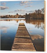 Landscape Of Fishing Jetty On Calm Lake At Sunset With Reflectio Wood Print
