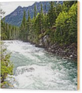 Landscape Of Mcdonald Creek Upstream In Spring In Glacier Np-mt Wood Print