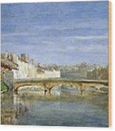 Landscape Oil On Canvas Wood Print