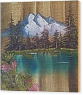 Landscape On Old Barn Siding Wood Print