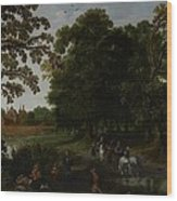 Landscape With A Courtly Procession Before Abtspoel Castle Wood Print by Esaias I van de Velde