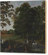 Landscape With A Courtly Procession Before Abtspoel Castle Wood Print by Esaias I van de Velde