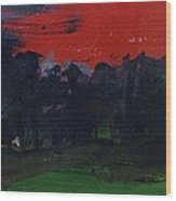 Landscape With A Red Sky Oil On Canvas Wood Print