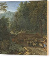Landscape With A Shepherd And His Flock Wood Print