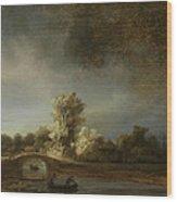 Landscape With A Stone Bridge Wood Print