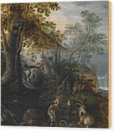Landscape With Animals Wood Print