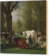Landscape With Cattle And Sheep Wood Print