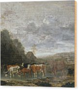 Landscape With Cattle Wood Print