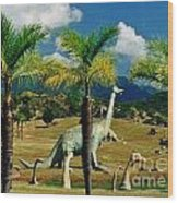 Landscape With Dinosaurs Wood Print