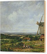 Landscape With Figures By A Windmill Wood Print by Frederick Waters Watts