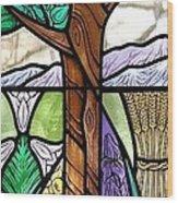 Landscape With Flora Wood Print