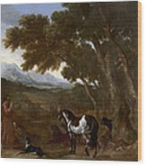 Landscape With Hermit Preaching To Animals Wood Print