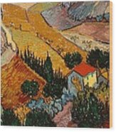 Landscape With House And Ploughman Wood Print