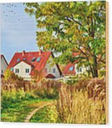 Landscape With Houses Wood Print