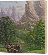 Landscape With Man Driving Horse And Cart Wood Print by Martin Davey