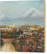 Landscape With Mountain Ararat From The Village Aintap Wood Print