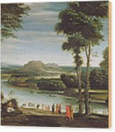 Landscape With St. John Baptising Wood Print