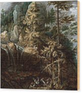 Landscape With The Temptation Of Saint Anthony Wood Print
