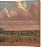 Landscape With Wheatfield Cornfield Under Heavy Cloud Wood Print