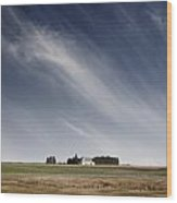 Landscape With White Country Church Wood Print