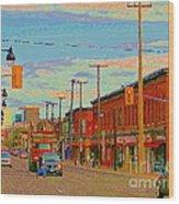 Landsdowne Condos 5th Avenue The Glebe Ottawa Street Scene Paintings Carole Spandau Canadian Art Wood Print