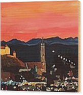 Landshut At Dawn With Alps Wood Print