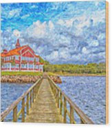 Landskrona Sea Shore Painting Wood Print