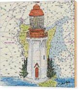 Langara Pt Lighthouse Bc Canada Nautical Chart Map Art Wood Print