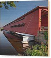 Langley Covered Bridge Michigan Wood Print by Steve Gadomski