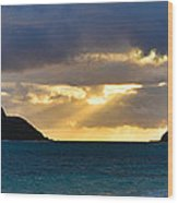 Lanikai Beach Sunrise Panorama 2 - Kailua Oahu Hawaii Wood Print