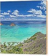Lanikai Bellows And Waimanalo Beaches Panorama Wood Print