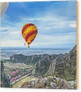 Lanscape Of Mountain And Balloon Wood Print