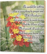Lantana Greeting Card With Verse Wood Print