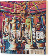 Lantern Chandelier 02 Wood Print
