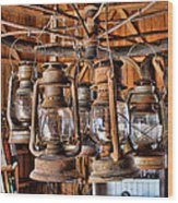 Lantern Chandelier Wood Print