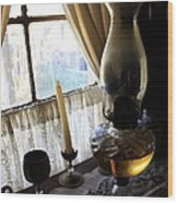 Lantern In The Window. Wood Print