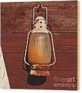 Lantern On Red Wood Print