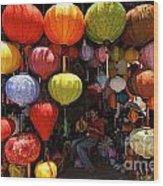 Lanterns Hanging In Shop In Hoi An Wood Print by Sami Sarkis
