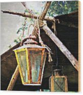 Lanterns Wood Print by Marty Koch