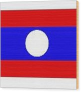 Laos Flag Wood Print