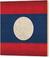 Laos Flag Vintage Distressed Finish Wood Print