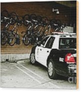 Lapd Cruiser And Police Bikes Wood Print by Nina Prommer