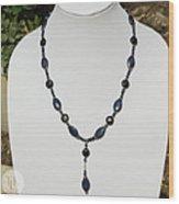 Lapis Lazuli And Black Onyx Lariat Necklace 3675 Wood Print
