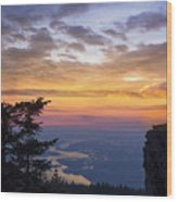 Larch Mountain Sunset Wood Print