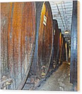 Large Barrels At Korbel Winery In Russian River Valley-ca Wood Print