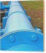 Large Blue Pipeline Wood Print