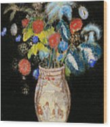 Large Bouquet On A Black Background Wood Print by Odilon Redon